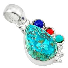 Clearance Sale- Natural green chrysocolla turquoise lapis 925 sterling silver pendant d1232