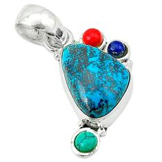 Clearance Sale- 925 sterling silver natural green chrysocolla turquoise coral pendant d1238
