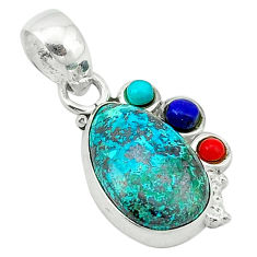 Natural green chrysocolla turquoise lapis 925 sterling silver pendant d1240