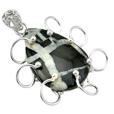 Clearance Sale- Natural black septarian gonads 925 sterling silver pendant jewelry d1243