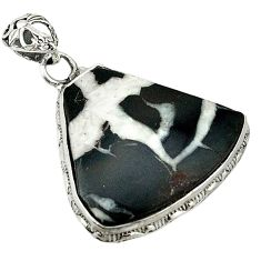 Clearance Sale- Natural black septarian gonads 925 sterling silver pendant jewelry d1250