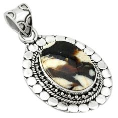 Natural brown peanut petrified wood fossil 925 silver pendant d1296
