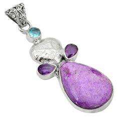 Natural purple purpurite amethyst topaz 925 silver pendant d1302