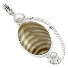 Clearance Sale- 925 silver natural brown striped flint ohio white pearl pendant d13067