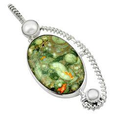 Clearance Sale- Natural green rainforest rhyolite jasper pearl 925 silver pendant d13077