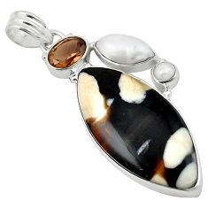 Clearance Sale- Natural brown peanut petrified wood fossil 925 sterling silver pendant d13078