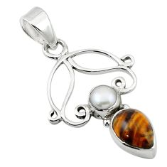 Clearance Sale- Natural brown tiger's eye white pearl 925 sterling silver pendant d13108