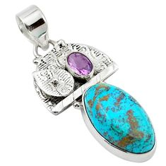 Clearance Sale- Natural blue chrysocolla amethyst 925 sterling silver pendant d13130