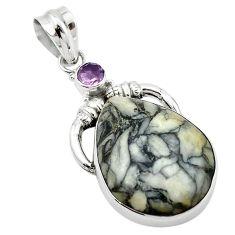 925 sterling silver natural black pinolith purple amethyst pendant d13139