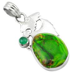 Clearance Sale- Natural green sea sediment jasper chalcedony 925 silver pendant d13156