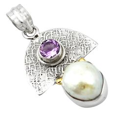 Clearance Sale- Natural white pearl amethyst 925 sterling silver pendant jewelry d13159