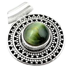 Green cats eye round 925 sterling silver pendant jewelry d13186
