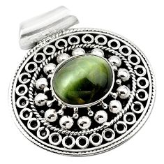 Green cats eye oval 925 sterling silver pendant jewelry d13189