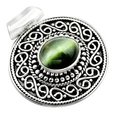 Green cats eye oval 925 sterling silver pendant jewelry d13191