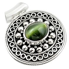 Green cats eye oval 925 sterling silver pendant jewelry d13197