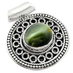 Green cats eye 925 sterling silver pendant jewelry d13198