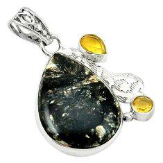 Clearance Sale- Natural black seraphinite (russian) yellow citrine 925 silver pendant d1358