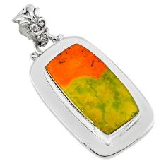 Clearance Sale- Natural yellow bumble bee australian jasper 925 silver pendant d13623