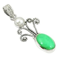 Natural green variscite pearl 925 sterling silver pendant jewelry d14490