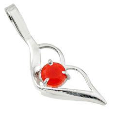 Clearance Sale- Natural orange cornelian (carnelian) 925 sterling silver pendant d14537