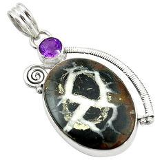 Clearance Sale- Natural black septarian gonads purple amethyst 925 silver pendant d14552