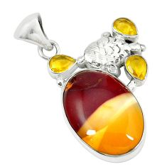 Clearance Sale- Natural brown mookaite citrine 925 sterling silver pendant d14562