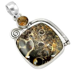 Clearance Sale- Natural brown turritella fossil snail agate 925 silver pendant jewelry d14573