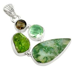 925 silver natural green moss agate peridot rough pendant jewelry d14599