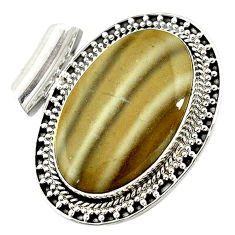 Clearance Sale- Natural grey striped flint ohio 925 sterling silver pendant jewelry d14601