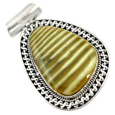 Natural grey striped flint ohio 925 sterling silver pendant jewelry d14603