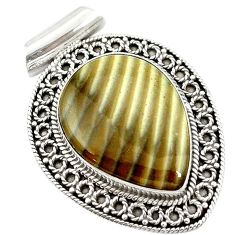 Clearance Sale- 925 sterling silver natural grey striped flint ohio pear pendant d14609