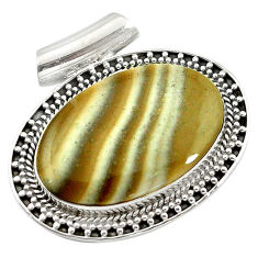 Natural grey striped flint ohio oval 925 sterling silver pendant d14611