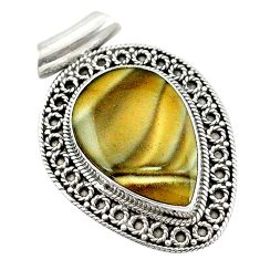 Clearance Sale- 925 sterling silver natural grey striped flint ohio pendant jewelry d14619