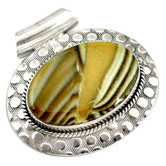 Natural grey striped flint ohio 925 sterling silver pendant d14622