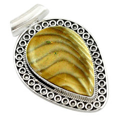 Clearance Sale- Natural grey striped flint ohio pear 925 sterling silver pendant d14628