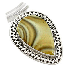 Clearance Sale- 925 sterling silver natural grey striped flint ohio pendant jewelry d14629