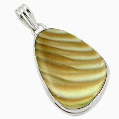 Natural grey striped flint ohio 925 sterling silver pendant jewelry d14636
