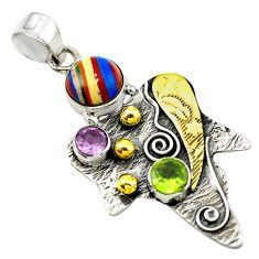 Clearance Sale- Natural multi color rainbow calsilica 925 silver 14k gold pendant d14702