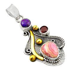 Clearance Sale- Natural pink rhodochrosite inca rose 925 silver 14k gold pendant d14711