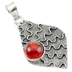 Clearance Sale- 925 sterling silver natural red garnet round shape pendant jewelry d14727