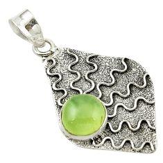 Natural green prehnite 925 sterling silver pendant jewelry d14729