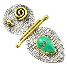 Clearance Sale- Natural green turquoise tibetan 925 sterling silver pendant jewelry d14730