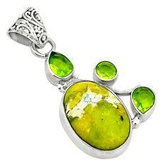 Clearance Sale- Natural yellow lizardite (meditation stone) peridot 925 silver pendant d1475