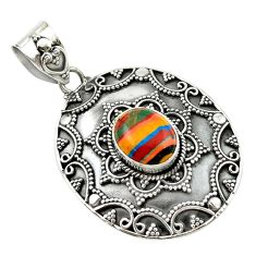 Clearance Sale- Natural multi color rainbow calsilica 925 sterling silver pendant jewelry d14750