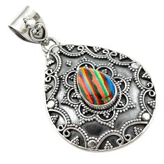 Clearance Sale- Natural multi color rainbow calsilica 925 sterling silver pendant d14759