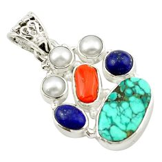 Clearance Sale- Natural green turquoise tibetan coral pearl 925 sterling silver pendant d14771