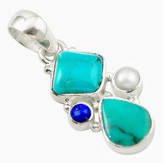 Clearance Sale- Natural green turquoise tibetan lapis lazuli pearl 925 silver pendant d14774