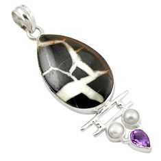 Clearance Sale- Natural black septarian gonads amethyst pearl 925 silver pendant d14792