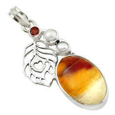 Clearance Sale- Natural brown mookaite red garnet pearl 925 sterling silver pendant d14801