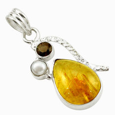 Clearance Sale- ourmaline rutile smoky topaz 925 silver pendant jewelry d14833